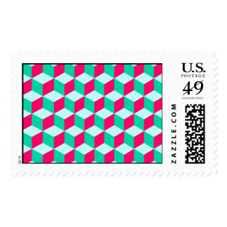 wonderful cube pattern abstract  magenta and  mint postage