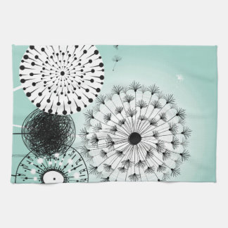 Wonderful Dandelions Blue Kitchen Towel