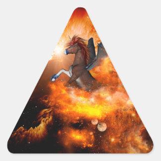 Wonderful dark unicorn in the universe triangle sticker