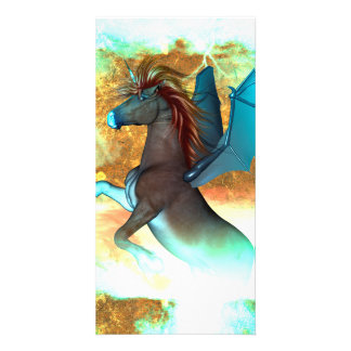 Wonderful dark unicorn with twisters card