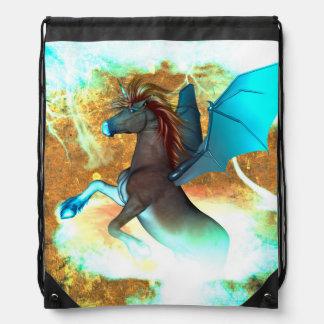 Wonderful dark unicorn with twisters drawstring backpack