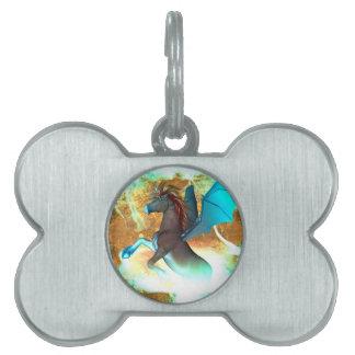 Wonderful dark unicorn with twisters pet ID tag