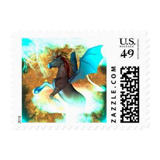 Wonderful dark unicorn with twisters stamp