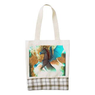 Wonderful dark unicorn with twisters zazzle HEART tote bag