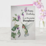 """Wonderful Daughter Birthday Hummingbird Garden Card<br><div class=""""desc"""">Celebrate your daughter's birthday with a lovely hummingbird watercolor card. Elegant and stylish,  the garden design was created with soft colors of cream,  green and pink. Perfect for a woman who loves chic pictures of charming birds and beautiful gardens.</div>"""