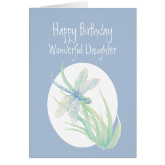 Wonderful Daughter Birthday Watercolor Dragonfly Card