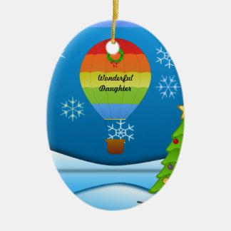 Wonderful Daughter, colorful hot air balloon Ceramic Ornament