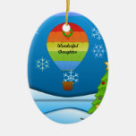 Wonderful Daughter, colorful hot air balloon Double-Sided Oval Ceramic Christmas Ornament