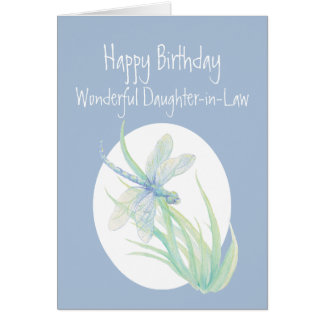 Wonderful Daughter-in-Law Birthday Dragonfly Card