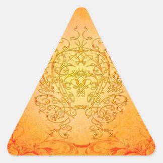 Wonderful decorative floral elements triangle sticker