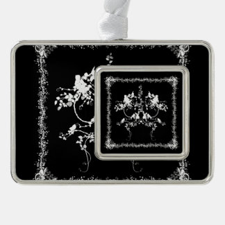 Wonderful decorative flower design with roses silver plated framed ornament