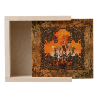 Wonderful fairy in a frame with roses wooden keepsake box