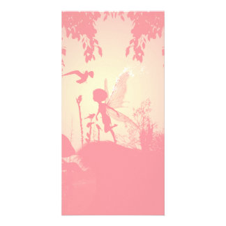 Wonderful fairy silhouette in pink with birds card