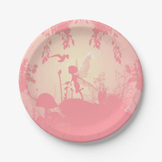 Wonderful fairy silhouette in pink with birds paper plate