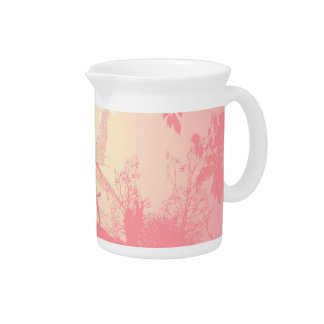 Wonderful fairy silhouette in pink with birds pitchers