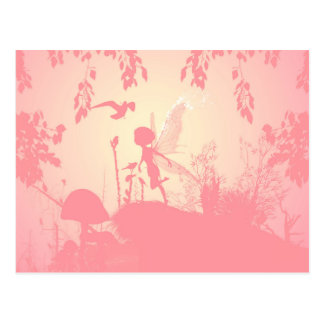 Wonderful fairy silhouette in pink with birds postcard