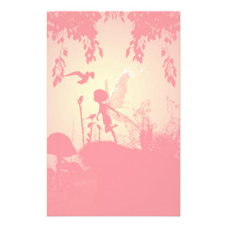 Wonderful fairy silhouette in pink with birds stationery