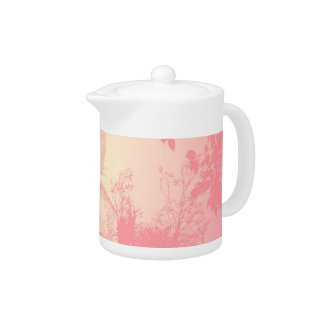 Wonderful fairy silhouette in pink with birds teapot