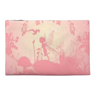 Wonderful fairy silhouette in pink with birds travel accessory bag