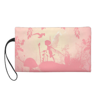 Wonderful fairy silhouette in pink with birds wristlet