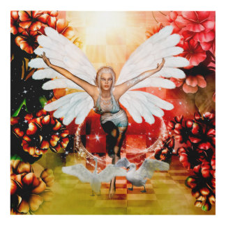 Wonderful fairy with swan panel wall art
