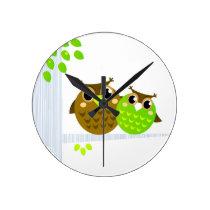 Wonderful fairytale Owls : Tshirts Round Clock