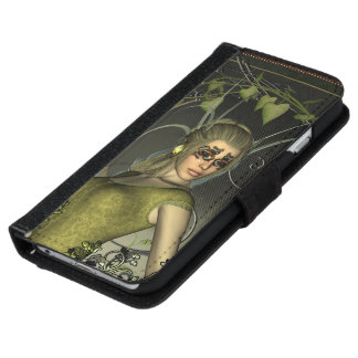 Wonderful fantasy women with leaves wallet phone case for iPhone 6/6s