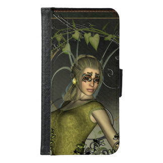 Wonderful fantasy women with leaves wallet phone case for samsung galaxy s6