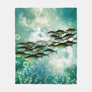 Wonderful fish shoal fleece blanket