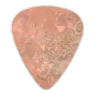 Wonderful floral design in soft colors pearl celluloid guitar pick
