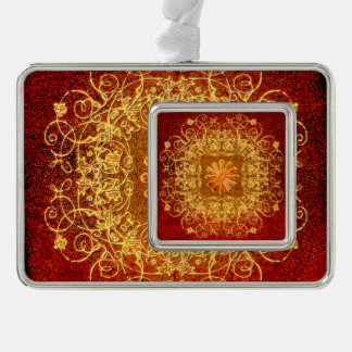 Wonderful floral elements in yellow with silver plated framed ornament