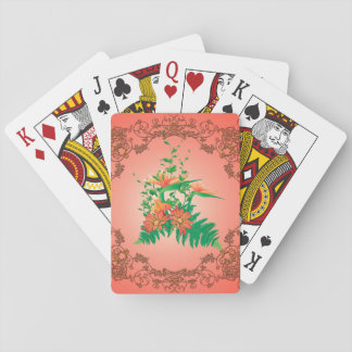 Wonderful flowers and leaves with floral elements poker cards