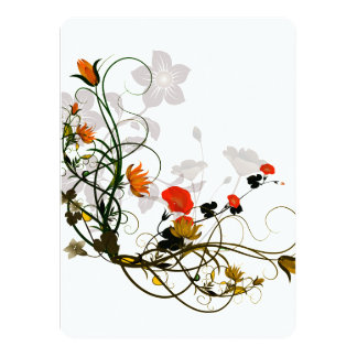 Wonderful flowers in red and yellow card