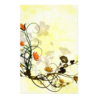 Wonderful flowers in red and yellow stationery