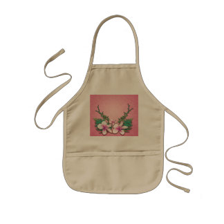 Wonderful  flowers on soft pink background kids' apron