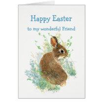 Wonderful Friend Custom Easter Cute Bunny Rabbit Card