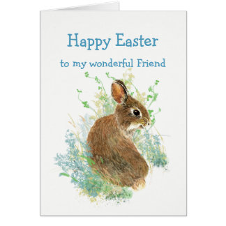 Wonderful Friend Custom Easter Cute Bunny Rabbit Card