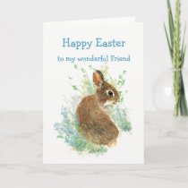 Wonderful Friend Custom Easter Cute Bunny Rabbit Holiday Card