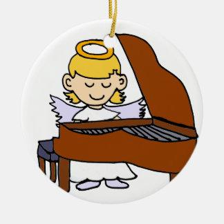 Wonderful Girl Angel Playing Piano Ceramic Ornament