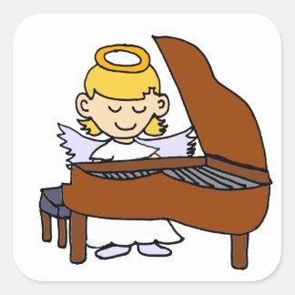 Wonderful Girl Angel Playing Piano Square Sticker