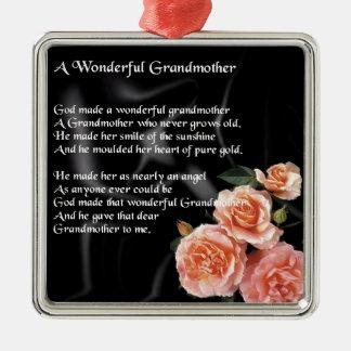 Wonderful Grandmother Poem - flowers on black Metal Ornament