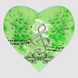 Wonderful green clef heart sticker