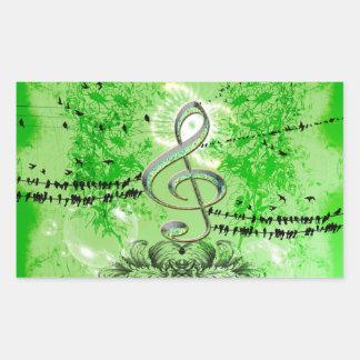Wonderful green clef rectangular sticker