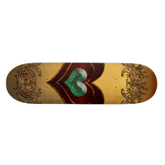 Wonderful hearts with decorative floral elements skateboard