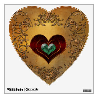 Wonderful hearts with decorative floral elements wall decal
