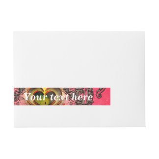 Wonderful hearts with floral elements wrap around address label