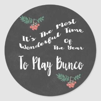 Wonderful Holiday Play Bunco Classic Round Sticker