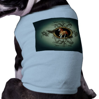 Wonderful horse in a circle with floral elements tee