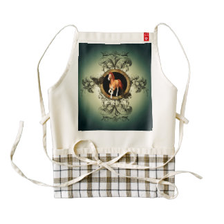 Wonderful horse in a circle with floral elements zazzle HEART apron