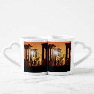 Wonderful horse in the sunset coffee mug set